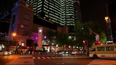 Night on the street of Shanghai in China - stock footage