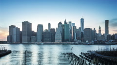 Manhattan from Brooklyn. From day to night. Timelapse. Stock Footage