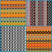 Stock Illustration of four seamless ornaments on african ethnic motifs