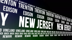 New Jersey State and Major Cities Scrolling Banner Stock Footage