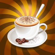 cup of cappuccino over rays - stock illustration