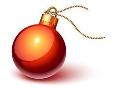 shiny red christmas ornament - stock illustration