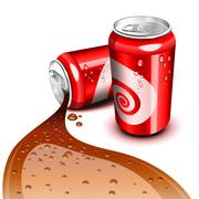 Flowing cola can Stock Illustration