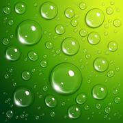 Water drops on green Stock Illustration