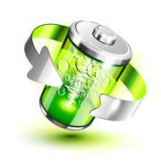 Green battery full level indicator Stock Illustration