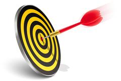 Red dart hitting the target Stock Illustration
