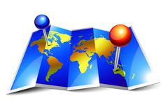 folded world map and pins - stock illustration