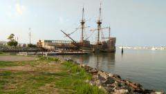Mayflower Replica in Harbor Stock Footage