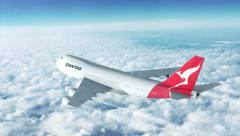 Boeing plane high above the skies. Qantas Australia Stock Footage