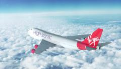 Boeing plane high above the skies. Virgin Atlantic - stock footage