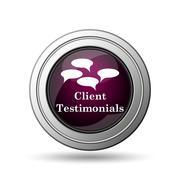 client testimonials icon. internet button on white background.. - stock illustration