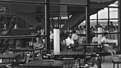 Mamaia 1960s: resort canteen Stock Footage