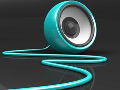 Stock Illustration of cyan speaker with cable over grey background