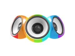multicolored audio system isolated on white background - stock illustration