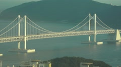 Gwangan Suspension Bridge At Sunset 02 4K  Stock Footage