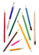 collection of pencils on white - stock photo