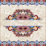 Stock Illustration of floral decorative invitation card, vintage paisley frame design