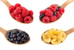 fruit and berry in spoon - stock photo