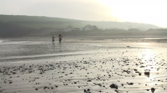 Grandmother, Mother And Daughter Running Along Beach Stock Footage