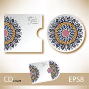 Stock Illustration of CD cover design template with ukrainian ethnic style ornament