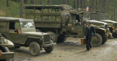 American military vehicles camp 01 Stock Footage
