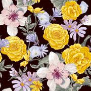 Seamless floral botanical pattern with wildflowers Stock Illustration