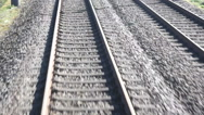Stock Video Footage of train tracks while the train moves