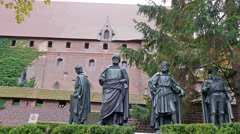 Castle in Malbork, Poland. Figures of the Teutonic Grand Masters Stock Footage
