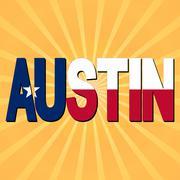 Austin flag text with sunburst illustration Piirros