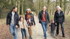 Multi Generation Family On Countryside Walk - stock footage