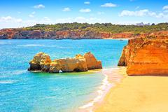 rock beach praia da rocha in portimao. algarve. portugal - stock photo