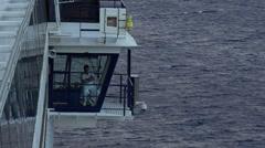 Cruise ship officer on navigation deck Mediterranean 4K 011 Stock Footage