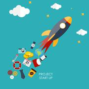 Quick Start Up Flat Concept Vector Illustration Stock Illustration