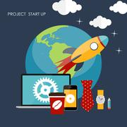 Quick Start Up Flat Concept Vector Illustration - stock illustration