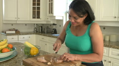 Overweight Woman Preparing Fresh Chicken in Kitchen Stock Footage