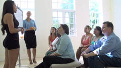 Fitness Instructor Addressing Overweight People At Diet Club Stock Footage