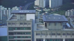 Helicopter Landing Pads On Top Of High Rise Buildings Busan 4K Stock Footage