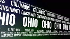 Ohio State and Major Cities Scrolling Banner Stock Footage