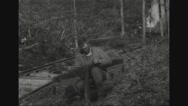 Lumberjack sharpening blade of saw used for felling trees Stock Footage