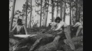 Four lumberjacks sawing felled trees Stock Footage