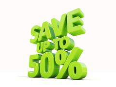 save up to 50% - stock illustration