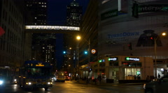 Busses On a Seattle Street At Night Stock Footage