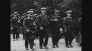 Troop of infantrymen marching Stock Footage