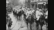 Military soldiers travelling on horses Stock Footage