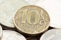 russian ruble coins closeup - stock photo