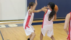 Female High School Basketball Team Playing Game - stock footage