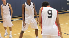 Male High School Basketball Team Playing Game Stock Footage