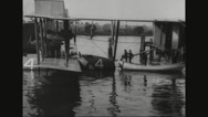Seaplane Moored at navy yard Stock Footage