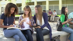 High School Students Collaborating On Project In Playground - stock footage