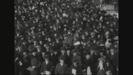 William Gibbs McAdoo and his wife join carollers at treasury building Stock Footage